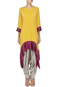 Yellow Asymmetric Tunic with Dhoti Pants Set by Surabhi Arya