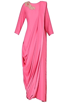Hot Pink Embroidered Drape Gown