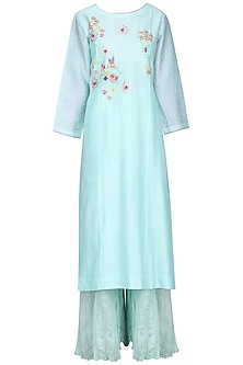 Powder Blue and Pink Embroidered Sharara Set