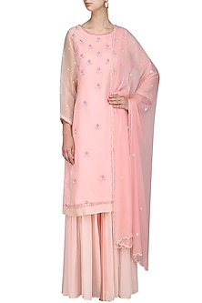 Pink Embroidered Sharara Set by Surabhi Arya