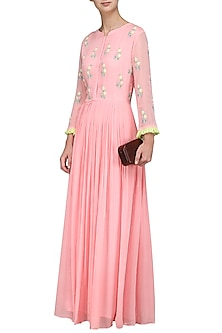 Blush Pink Pearl Embroidered Gown by Surabhi Arya