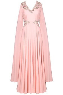 Baby Pink Embroidered Gown by Surabhi Arya