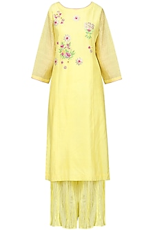 Yellow and Pink Embrodiered Kurta Set