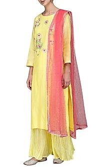 Yellow and Pink Embrodiered Kurta Set by Surabhi Arya