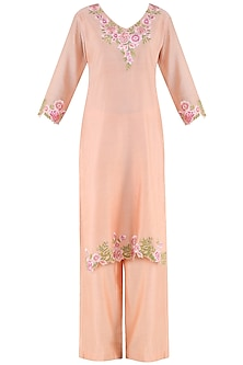 Peach Embroidered Kurta with Palazzo Pants by Surabhi Arya