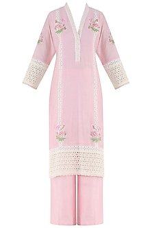 Powder Pink Embroidered Kurta and Palazzo Pants Set by Surabhi Arya