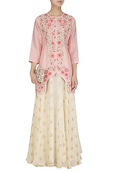 Pink 3D Floral Embroidered Short Jacket Kurta with White Skirt by Surabhi Arya
