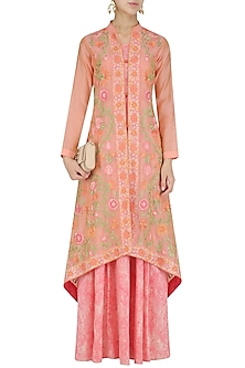 Pink Resham Embroidered Asymmetric Long Jacket with A-Line Slip by Surabhi Arya