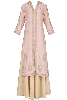 Pink Hand Embroided Straight Jacket with White Skirt by Surabhi Arya