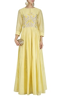 Yellow Gota Patti and Thread Work Gathered Anarkali by Surabhi Arya