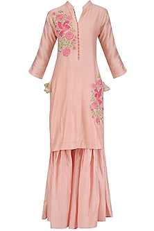 Pink Bird Motif Embroidered Kurta and Gharara Set