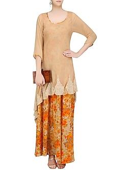 Beige Dori Embroidered and Printed Underlay Tunic by Surabhi Arya