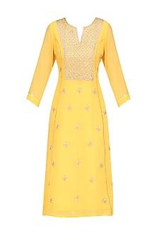 Yellow Gota Patti Embroidered Long Tunic