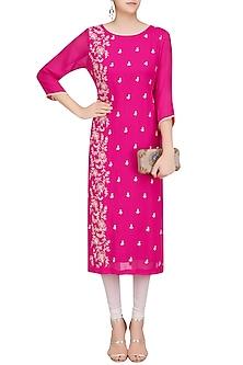Magenta Pink Floral Embroidered Long Tunic by Surabhi Arya