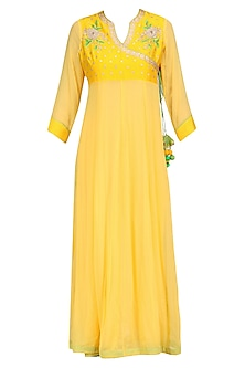 Lemon Yellow Floral Embroidered Angrakha Style Tunic