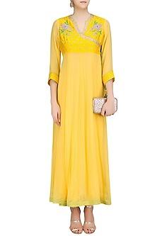 Lemon Yellow Floral Embroidered Angrakha Style Tunic by Surabhi Arya