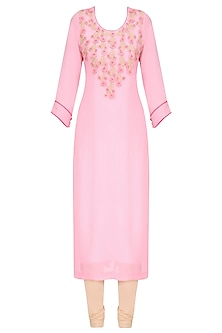Baby Pink and Gold Embroidered Long Tunic