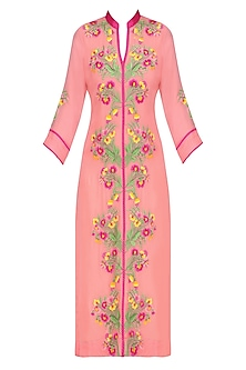 Pink Floral Thread Embroidered Long Tunic