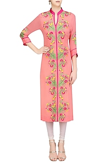 Pink Floral Thread Embroidered Long Tunic by Surabhi Arya