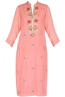 Pink 3D embroidered tunic with butterfly motif bootis