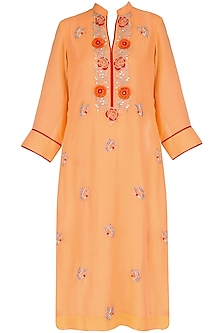 Orange 3D embroidered tunic with butterfly motif bootis by Surabhi Arya