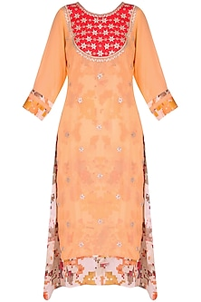 Orange tunic with red gota patti embroidery