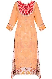 Orange tunic with red gota patti embroidery by Surabhi Arya