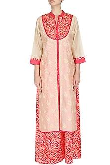Beige floral embroidered jacket by Surabhi Arya