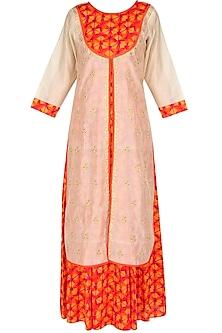 Beige jacket kurta with orange underlayer by Surabhi Arya