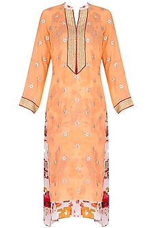 Orange tunic with floral printed underlayer