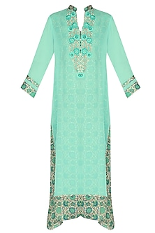 Blue and silver threadwork embroidered tunic by Surabhi Arya