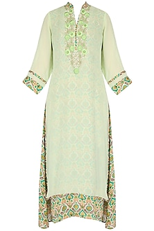Green tunic with pearl threadwork embroidery