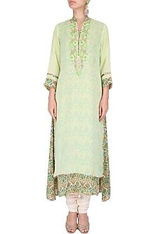 Green tunic with pearl threadwork embroidery by Surabhi Arya