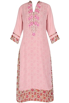 Pink tunic with pearl threadwork embroidery
