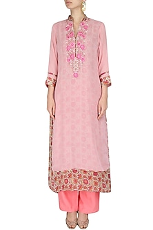 Pink tunic with pearl threadwork embroidery by Surabhi Arya