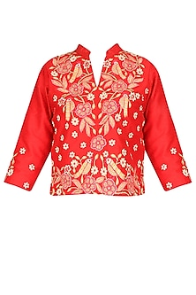 Red floral embroidered dupion silk top by Surabhi Arya