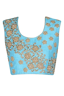 Blue sleeveless blouse with golden floral embroidered motifs