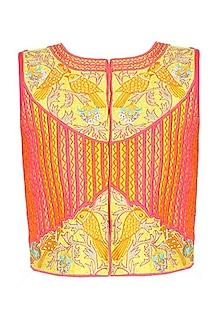 Yellow and pink bird motifs embroidered jacket by Surabhi Arya