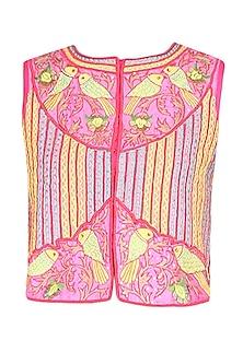 Pink bird motifs zig zag embroidered jacket