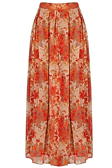 Orange And Beige Floral Printed Flared Maxi Skirt