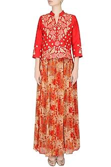 Orange And Beige Floral Printed Flared Maxi Skirt by Surabhi Arya