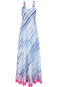 Blue and White Tye and Dye Maxi Dress