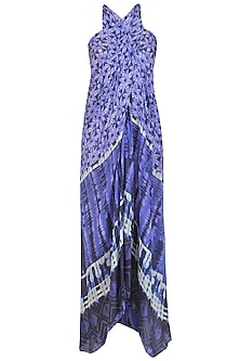 Blue Tye and Dye Printed Sarong Dress