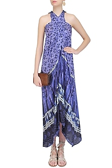 Blue Tye and Dye Printed Sarong Dress by Soutache