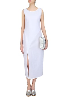 White Dot Printed High Slit Dress by Soutache