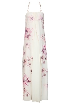 Cream and Pink Floral Printed Double Layered Dress