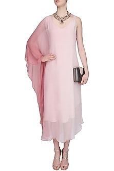 Pink Ombre Shaded One Sleeve Dress by Soutache
