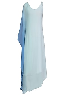 Aqua Blue Ombre Shaded One Sleeve Dress