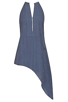 Indigo Blue Dots Printed Sleeveless Stop by Soutache
