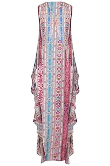 Multicolor Printed Sleeveless Wrap Cape